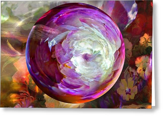 Butterfly Garden Globe Greeting Card by Robin Moline