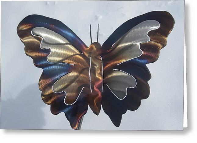 Garden Sculptures Greeting Cards - Butterfly Garden Sculpture Greeting Card by Robert Blackwell