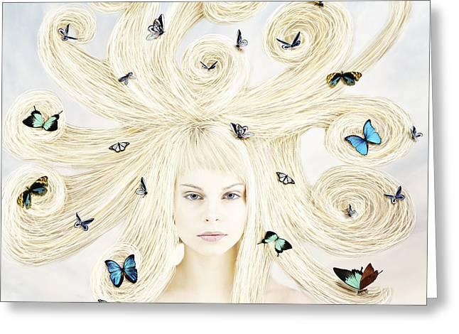 Linda Lees Greeting Cards - Butterfly girl Greeting Card by Linda Lees