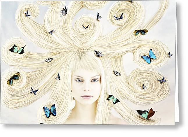 Lindalees Greeting Cards - Butterfly girl Greeting Card by Linda Lees