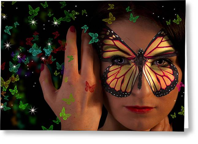 Butterfly Girl Greeting Card by Nathan Wright