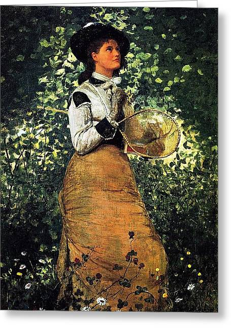 Winslow Homer Greeting Cards - Butterfly Girl Greeting Card by Winslow Homer