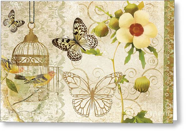 Flowers Framed Prints Greeting Cards - Butterfly Green Collage Greeting Card by Grace Pullen