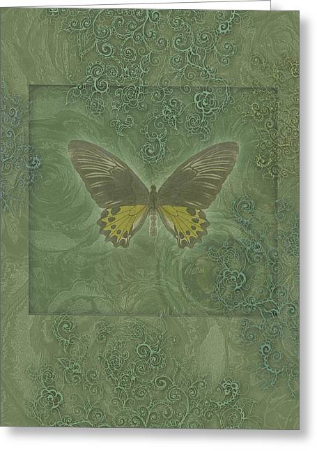 Border Photographs Greeting Cards - Butterfly Greens Greeting Card by Alixandra Mullins