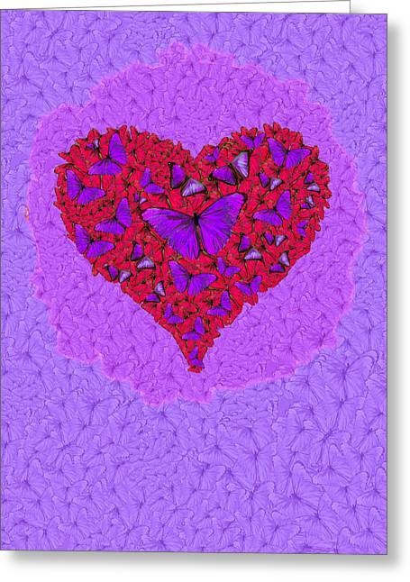 Nature Abstracts Greeting Cards - Butterfly Heart Greeting Card by Alixandra Mullins
