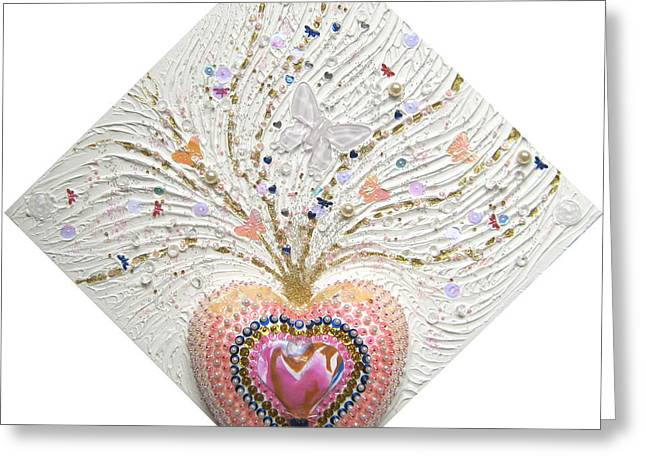 Shine Reliefs Greeting Cards - Butterfly-Heart Greeting Card by Heidi Sieber