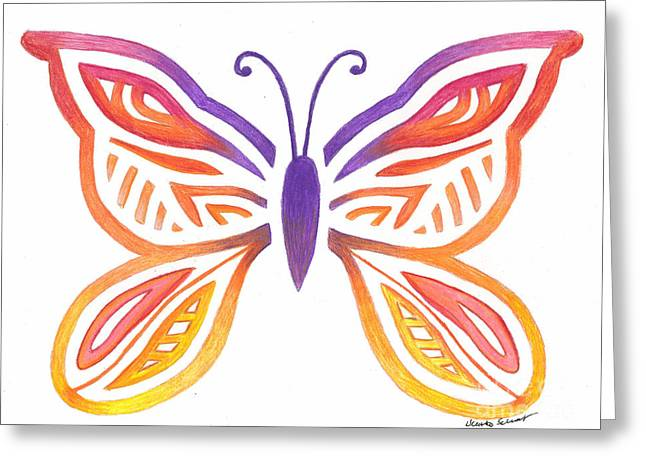 Cocoon Drawings Greeting Cards - Butterfly Greeting Card by Heather Schaefer