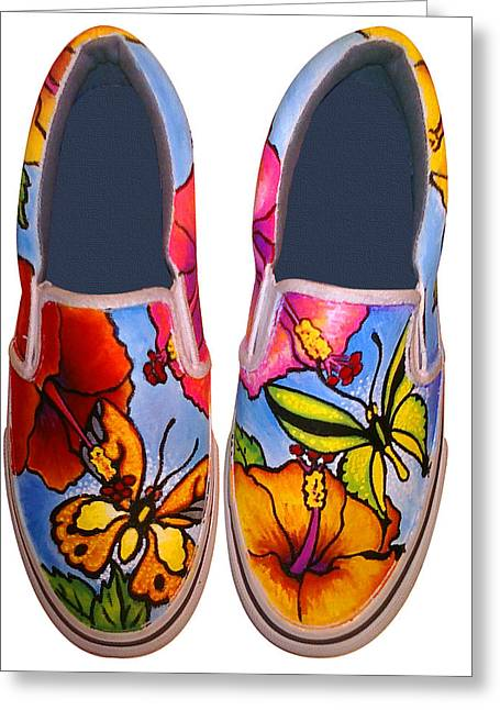Surfer Tapestries - Textiles Greeting Cards - Butterfly Hibiscus Custom Painted Shoes Greeting Card by Adam Johnson