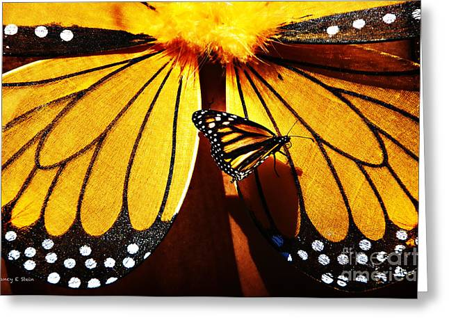 Stein Greeting Cards - Butterfly Hitching A Ride 2 Greeting Card by Nancy E Stein