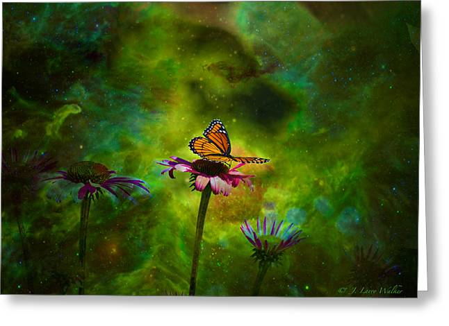 Butterfly Digital Art Greeting Cards - Butterfly In An Ethereal World Greeting Card by J Larry Walker
