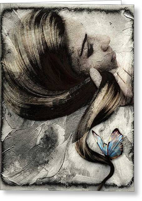 Butterfly In Her Hair Greeting Card by Gun Legler