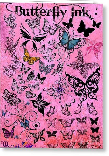 Selection Mixed Media Greeting Cards - Butterfly Ink Greeting Card by Mindy Bench