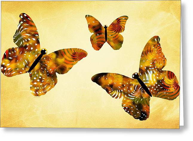 Trio Digital Greeting Cards - Butterfly Kisses Greeting Card by Christina Rollo