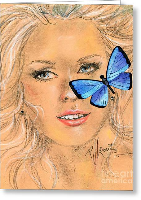 Pretty Girls Mixed Media Greeting Cards - Butterfly kisses Greeting Card by P J Lewis
