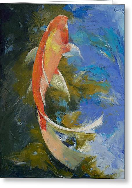Japanese Koi Greeting Cards - Butterfly Koi Painting Greeting Card by Michael Creese