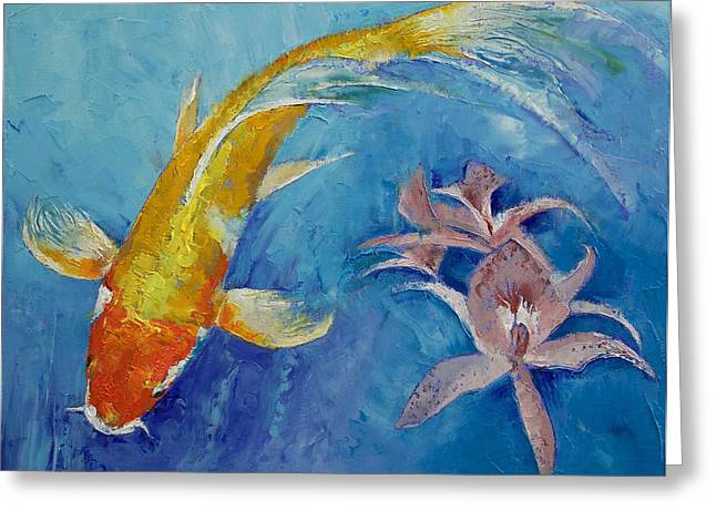 Japanese Koi Greeting Cards - Butterfly Koi with Orchids Greeting Card by Michael Creese