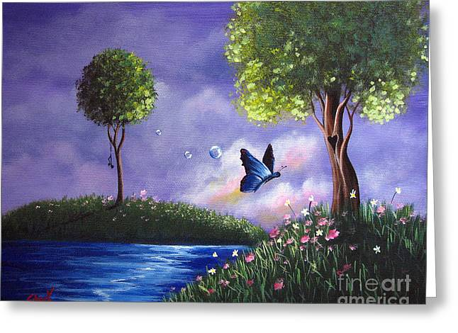 Fluttering Paintings Greeting Cards - Butterfly Lake by Shawna Erback Greeting Card by Shawna Erback