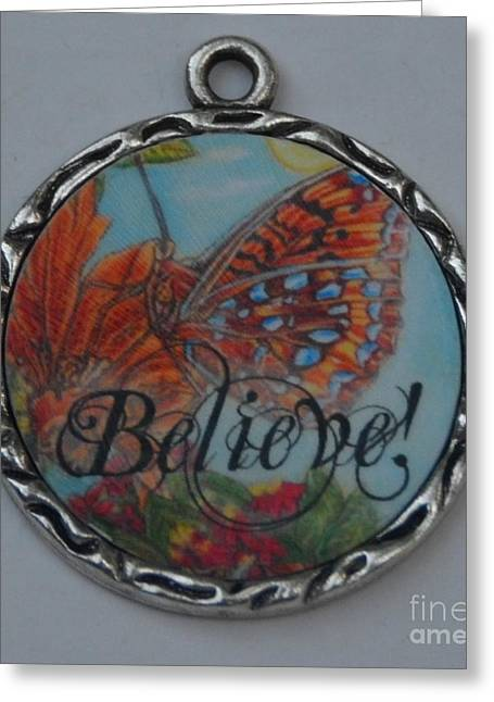 Insects Jewelry Greeting Cards - Butterfly Lights Upon A Tiger Lily in A Resin Necklace  Greeting Card by Kimberlee  Baxter