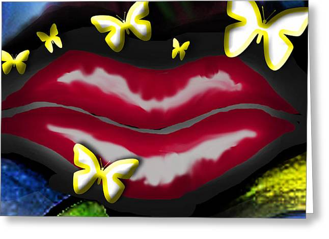 Butterfly Lips Greeting Card by Tiffany Selig