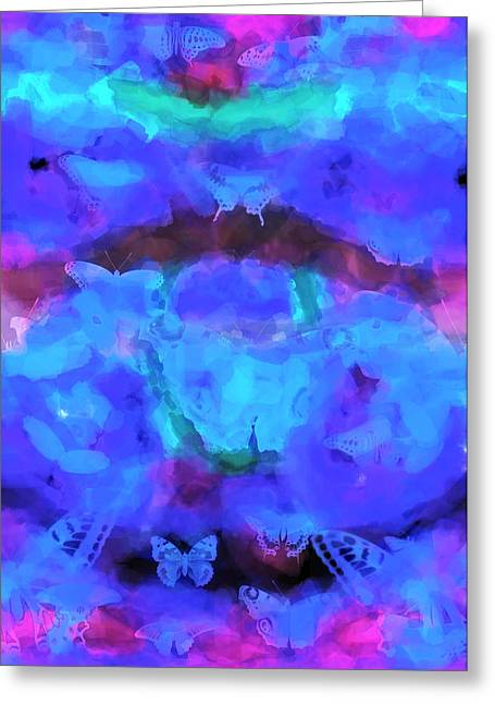 Abstract Silhouette Mixed Media Greeting Cards - Butterfly Madness  Greeting Card by Toppart Sweden