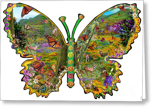 Euphoria Greeting Cards - Butterfly Meadow Green Greeting Card by Alixandra Mullins