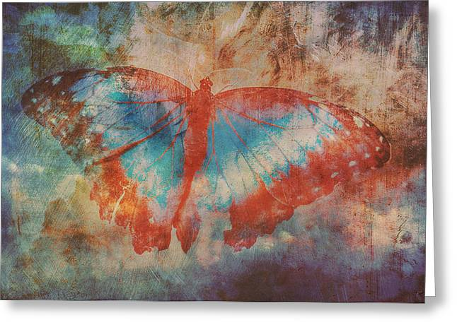 Shades Of Red Greeting Cards - Butterfly Merging Greeting Card by Richard Sylvester