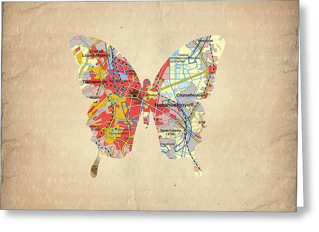 America City Map Greeting Cards - Butterfly - Mexico Greeting Card by Steffi Louis