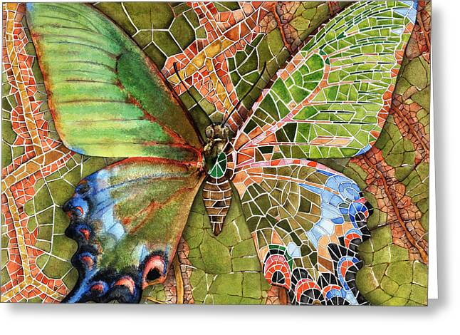 Yakubovich Greeting Cards - BUTTERFLY MOSAIC 03 Elena Yakubovich Greeting Card by Elena Yakubovich