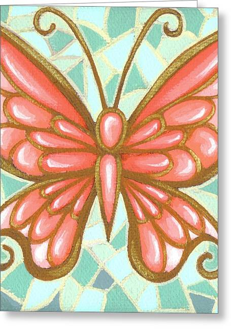 Mosaic Paintings Greeting Cards - Butterfly Mosaic Greeting Card by Elaina  Wagner