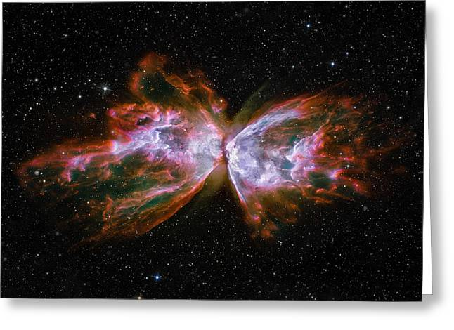 Hubble Photographs Greeting Cards - Butterfly Nebula NGC6302 Greeting Card by Adam Romanowicz