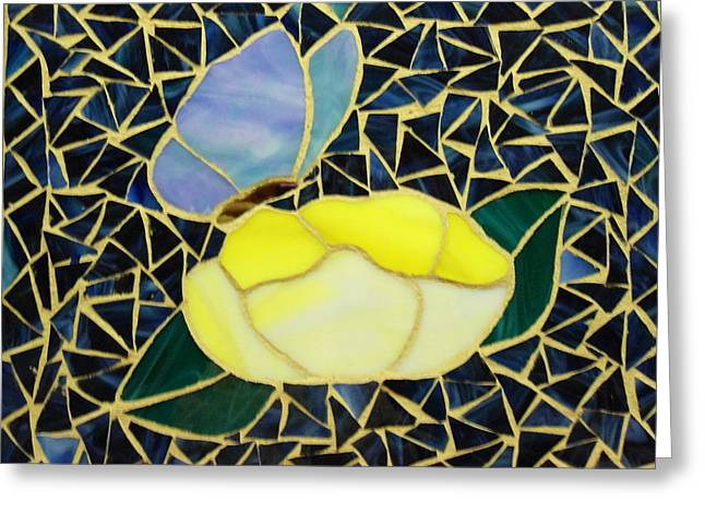 Butterflies Glass Greeting Cards - Butterfly on Flower Greeting Card by Fabiola Rodriguez
