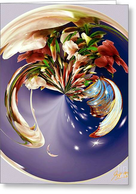 Fractal Orbs Greeting Cards - Butterfly Orb Greeting Card by Jeff McJunkin