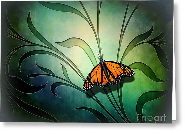 Postcards Mixed Media Greeting Cards - Butterfly Pause V1 Greeting Card by Bedros Awak