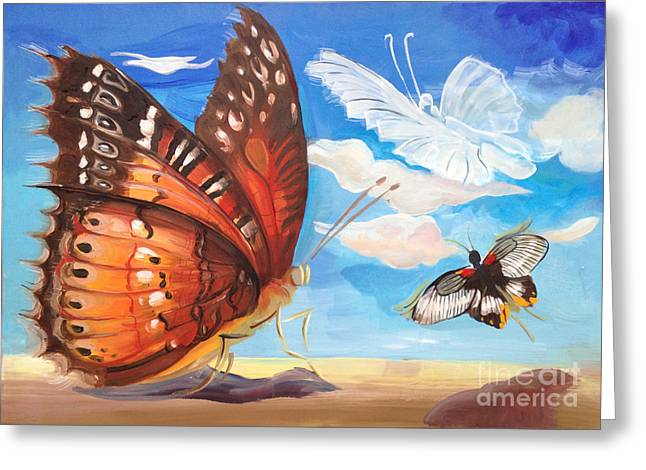 Charlotte Paintings Greeting Cards - Butterfly paysage 2 Greeting Card by Art Ina Pavelescu