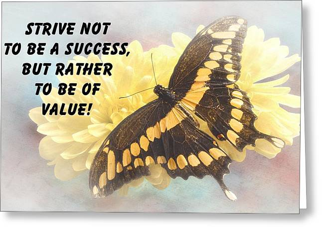 Butterfly Quote Greeting Card by Rudy Umans