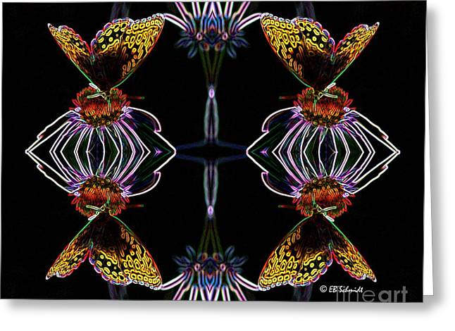 Abstracted Coneflowers Greeting Cards - Butterfly Reflections 10  - Great Spangled Fritillary Greeting Card by E B Schmidt