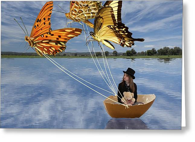 Lindaleesart Greeting Cards - Butterfly Sailing Greeting Card by Linda Lees