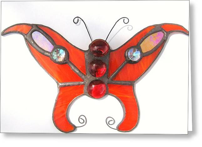 Iridescent Glass Art Greeting Cards - Butterfly Stained Glass Suncatcher in Orange with Red Accents Greeting Card by Wendy Wehe-Ballone