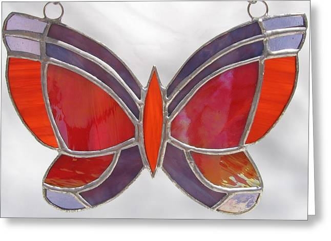 Iridescent Glass Art Greeting Cards - Butterfly Sun catcher in Stained Glass  Greeting Card by Wendy Wehe-Ballone