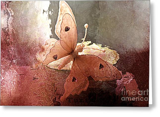 Digital Paint Greeting Cards - Butterfly Surreal Fantasy Painterly Impressionistic Sepia Abstract Butterfly  Greeting Card by Kathy Fornal