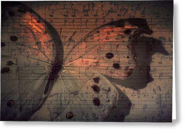 Dot Greeting Cards - Butterfly Sunset Symphony Greeting Card by Marianna Mills