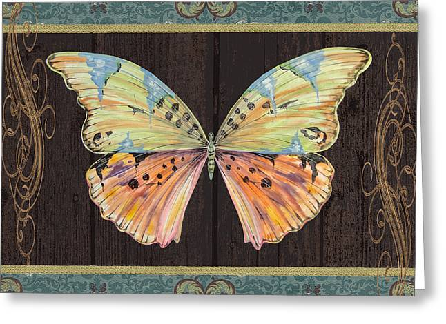Gold Trim Greeting Cards - Butterfly Tapsetry-JP2197 Greeting Card by Jean Plout