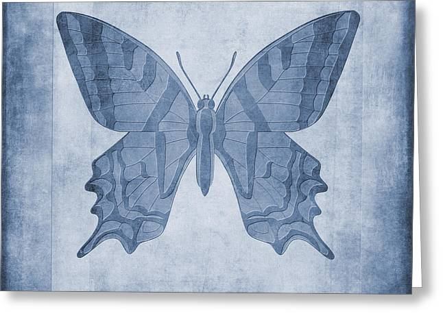 Fauna Digital Greeting Cards - Butterfly Textures Cyanotype Greeting Card by John Edwards