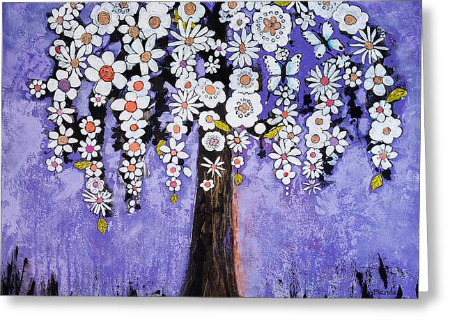 Floral Art Paintings Greeting Cards - Butterfly Tree Greeting Card by Blenda Studio