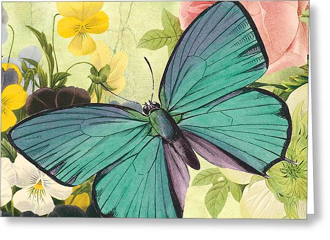 Floral Digital Art Digital Art Greeting Cards - Butterfly Visions-C Greeting Card by Jean Plout