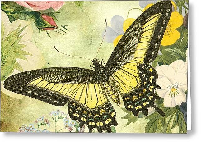 Floral Digital Art Digital Art Greeting Cards - Butterfly Visions-D Greeting Card by Jean Plout