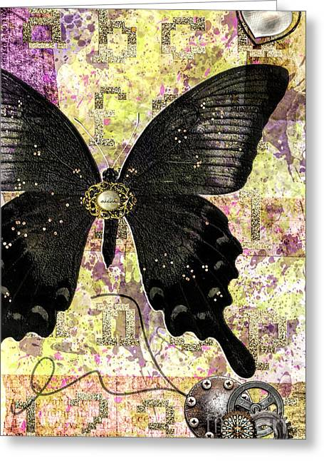 Cog Mixed Media Greeting Cards - Butterfly wish Greeting Card by Gillian Singleton