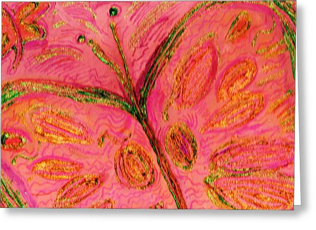 Butterfly With Pinks And Orange Greeting Card by Anne-Elizabeth Whiteway