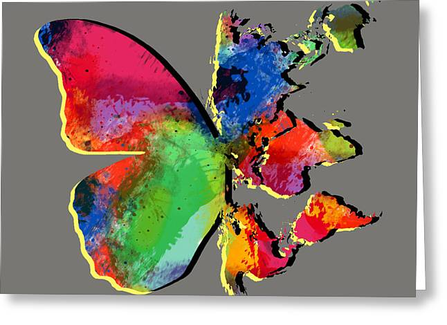 Fun Map Greeting Cards - Butterfly World Map 2 Greeting Card by Mark Ashkenazi
