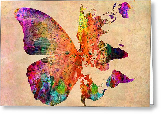 Fun Map Greeting Cards - Butterfly World Map  Greeting Card by Mark Ashkenazi